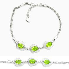 7.32cts natural green peridot topaz 925 sterling silver tennis bracelet a87766
