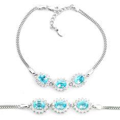 10.74cts natural blue topaz topaz 925 sterling silver tennis bracelet a87768
