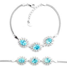 12.71cts natural blue topaz topaz 925 sterling silver tennis bracelet a87770