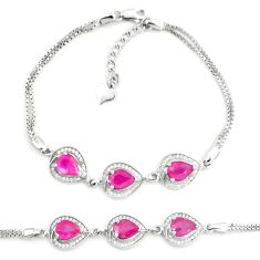 925 sterling silver 8.76cts natural red ruby topaz tennis bracelet a87772