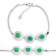 11.36cts natural green emerald topaz 925 sterling silver tennis bracelet a87779
