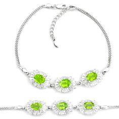 13.34cts natural green peridot topaz 925 sterling silver tennis bracelet a87788