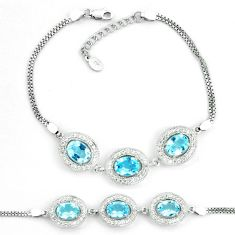 12.71cts natural blue topaz topaz 925 sterling silver tennis bracelet a87792