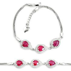 9.37cts natural red ruby topaz 925 sterling silver tennis bracelet a87799