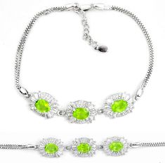 10.43cts natural green peridot topaz 925 sterling silver tennis bracelet a87809