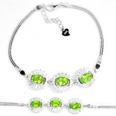 10.43cts natural green peridot white topaz 925 sterling silver bracelet a87823