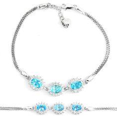 7.62cts natural blue topaz white topaz 925 sterling silver bracelet a87826