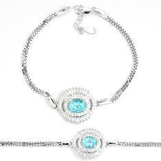 5.97cts natural blue topaz white topaz 925 sterling silver bracelet a87827