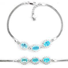 7.37cts natural blue topaz white topaz 925 sterling silver bracelet a87854