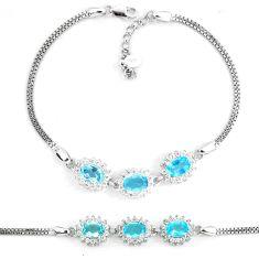 7.37cts natural blue topaz white topaz 925 sterling silver bracelet a87855