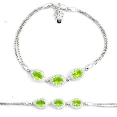 8.96cts natural green peridot topaz 925 sterling silver tennis bracelet a92321