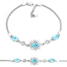 9.37cts natural blue topaz topaz 925 sterling silver tennis bracelet a92329