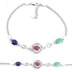 Natural red ruby sapphire emerald topaz 925 silver tennis bracelet a92331