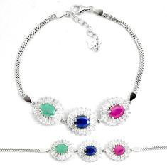 Natural red ruby sapphire emerald topaz 925 silver tennis bracelet a92334