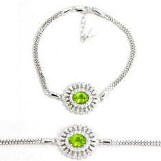 6.09cts natural green peridot topaz 925 sterling silver tennis bracelet a92341