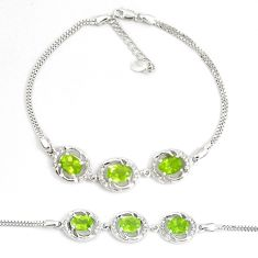 9.91cts natural green peridot topaz 925 sterling silver tennis bracelet a92342