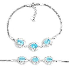 11.01cts natural blue topaz oval topaz 925 silver tennis bracelet jewelry a92348