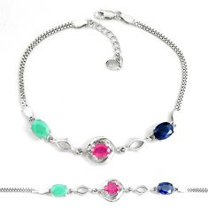925 silver natural red ruby sapphire emerald topaz tennis bracelet a92356