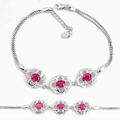 6.92cts natural red ruby topaz 925 sterling silver tennis bracelet a92363