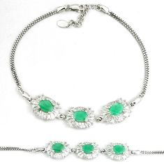11.74cts natural green emerald oval topaz 925 silver tennis bracelet a92371