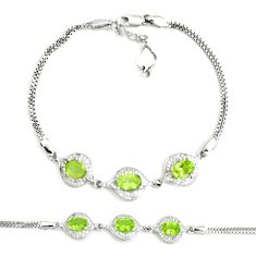 925 sterling silver 7.40cts natural green peridot topaz tennis bracelet a92376