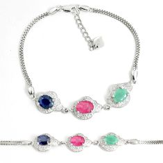 Natural blue sapphire topaz emerald ruby 925 silver tennis bracelet a92387