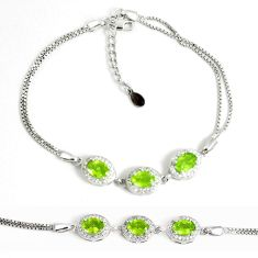 7.23cts natural green peridot topaz 925 sterling silver tennis bracelet a92393