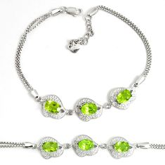 6.58cts natural green peridot topaz 925 sterling silver tennis bracelet a92394