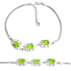 11.54cts natural green peridot topaz 925 sterling silver tennis bracelet a92395