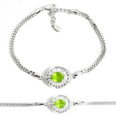 5.63cts natural green peridot topaz 925 sterling silver tennis bracelet a92396