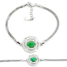 5.97cts natural green emerald topaz 925 sterling silver tennis bracelet a92397