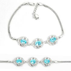 8.96cts natural blue topaz topaz 925 sterling silver tennis bracelet a92400