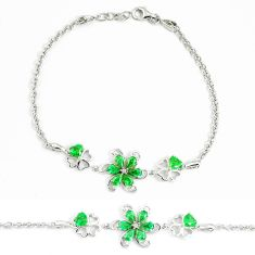 5.30cts green emerald (lab) topaz 925 sterling silver tennis bracelet a94882