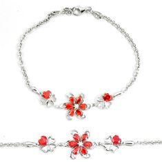 5.63cts red garnet quartz topaz 925 sterling silver tennis bracelet a94887