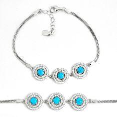 6.57cts fine blue turquoise topaz 925 sterling silver tennis bracelet a94888