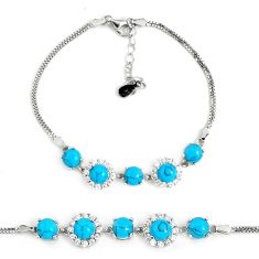 7.89cts fine blue turquoise topaz 925 sterling silver tennis bracelet a94889