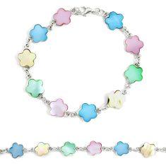 5.48gms multi color blister pearl enamel 925 silver tennis bracelet a94914