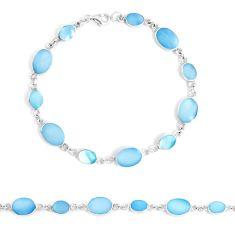 925 sterling silver 6.02gms blue pearl enamel tennis bracelet jewelry a94917