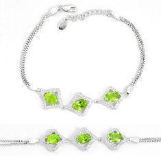 7.51cts natural green peridot topaz 925 sterling silver bracelet jewelry a96568