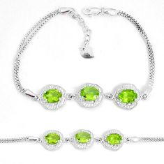 8.14cts natural green peridot topaz 925 sterling silver bracelet jewelry a96569