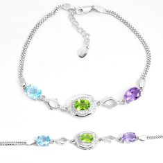 9.03cts natural purple amethyst peridot topaz 925 silver bracelet a96581