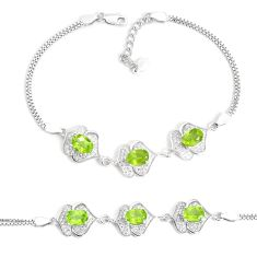 8.98cts natural green peridot topaz 925 sterling silver bracelet jewelry a96586