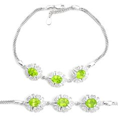 13.22cts natural green peridot topaz 925 sterling silver bracelet jewelry a96587