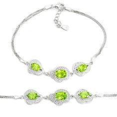 9.31cts natural green peridot topaz 925 sterling silver bracelet jewelry a96588