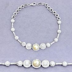 925 sterling silver 10.82cts natural white pearl topaz bracelet jewelry a96774