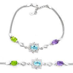10.69cts natural purple amethyst peridot topaz 925 silver bracelet a96865