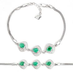 8.22cts natural green emerald topaz 925 sterling silver bracelet jewelry a96866