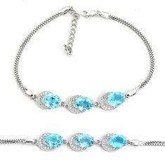 13.07cts natural blue topaz topaz 925 sterling silver bracelet jewelry a96877