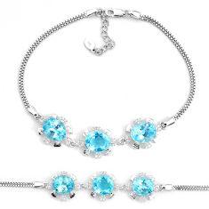 14.42cts natural blue topaz topaz 925 sterling silver bracelet jewelry a96879