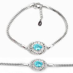 925 sterling silver 5.83cts natural blue topaz topaz bracelet jewelry a96880